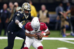 New Orleans Saints defensive end Cameron Jordan (94) sacks Arizona Cardinals quarterback Kyler Murray (1) in the second half of an NFL football game in New Orleans, Sunday, Oct. 27, 2019. The Saints won 31-9. (AP Photo/Butch Dill)