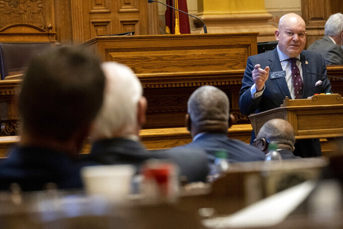 Georgia State Sen. Mike Dugan (R-Carrollton) presents Senate Bill 241, which changes Georgia's voting laws, Monday, March 8, 2021, in Atlanta. (AP Photo/Ben Gray)