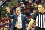 North Alabama Tony Pujol shouts instructions to his team in the first half of an NCAA college basketball game against Florida State in Tallahassee, Fla., Saturday, Dec. 28, 2019. (AP Photo/Mark Wallheiser)