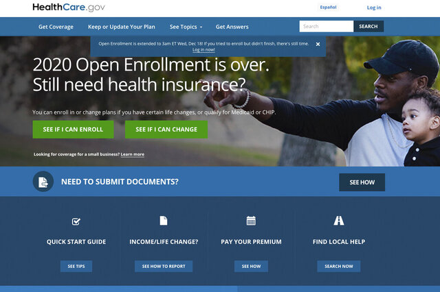 This screen grab from the website HealthCare.gov shows the extended deadline for signing up for health care coverage for 2020.  More than 8 million people have signed up for coverage next year under former President Barack Obama's health care law, the government said Friday, showing continued demand for the program amid ongoing uncertainty over its future.  (Centers for Medicare and Medicaid Services via AP)