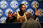 Missouri's Jeremiah Tilmon Jr. speaks during the Southeastern Conference NCAA college basketball media day, Wednesday, Oct. 16, 2019, in Birmingham, Ala. (AP Photo/Butch Dill)