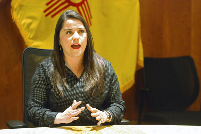 Alisha Tafoya Lucero speaks after being named as Cabinet secretary to oversee New Mexico's combination public-private prison system, at a news conference in Santa Fe, N.M., on Wednesday, June 19, 2019. Tafoya Lucero highlighted new efforts to improve accountability at privately run prisons and expand inmate programs that can reduce recidivism. The state is limiting but not eliminating solitary confinement. (AP Photo/Morgan Lee)