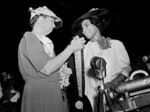 FILE - In this July 2, 1939, file photo, first lady Eleanor Roosevelt is shown with opera singer Marian Anderson at Richmond, Va.,, after the first lady made a presentation of the Spingarn Medal to the singer. A proposed sculpture in Philadelphia honoring Anderson is advancing, and will hopefully bring critical funding to the South Philadelphia house museum long devoted to the singer. (AP Photo/File)
