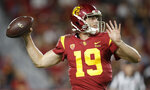 Southern California quarterback Matt Fink throws against Utah during the second half of an NCAA college football game Friday, Sept. 20, 2019, in Los Angeles. (AP Photo/Marcio Jose Sanchez)