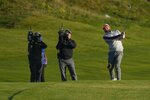 Team Europe's Tyrrell Hatton hits on the second hole during a foursomes match the Ryder Cup at the Whistling Straits Golf Course Saturday, Sept. 25, 2021, in Sheboygan, Wis. (AP Photo/Jeff Roberson)