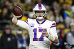 Buffalo Bills quarterback Josh Allen (17) throws a pass during the first half of an NFL football game against the Pittsburgh Steelers in Pittsburgh, Sunday, Dec. 15, 2019. (AP Photo/Don Wright)