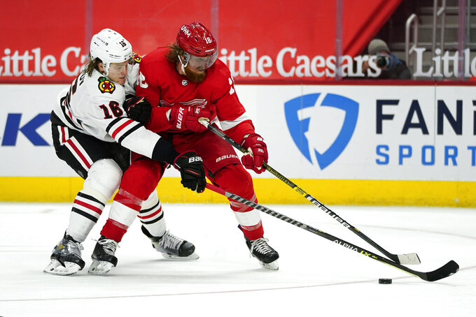 Detroit Red Wings defenseman Marc Staal (18) protects the puck from Chicago Blackhawks defenseman Nikita Zadorov (16) in the second period of an NHL hockey game Monday, Feb. 15, 2021, in Detroit. (AP Photo/Paul Sancya)