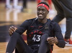 Toronto Raptors' Pascal Siakam smiles during practice for the NBA Finals in Toronto on Wednesday, May 29, 2019. Game 1 of the NBA Finals between the Raptors and Golden State Warriors is Thursday in Toronto. (Frank Gunn/The Canadian Press via AP)