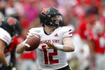 Arkansas State quarterback Logan Bonner (12) throw from the pocket in the first half of an NCAA college football game against Georgia Saturday, Sept. 14, 2019, in Athens, Ga. (AP Photo/John Bazemore)