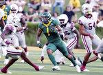 Baylor running back Trestan Ebner runs through the Texas Southern defense in the first half of an NCAA college football game, Saturday, Sept. 11, 2021, in Waco, Texas. (Rod Aydelotte AP)/Waco Tribune-Herald via AP)