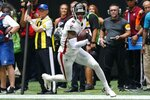 Atlanta Falcons tight end Kyle Pitts (8) runs against the Philadelphia Eagles during the second half of an NFL football game, Sunday, Sept. 12, 2021, in Atlanta. (AP Photo/John Bazemore)