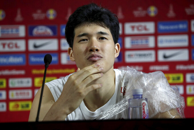 Japan's Yuta Watanabe pause during a press conference ahead of the FIBA Basketball World Cup at the Shanghai Oriental Sports Center on Saturday, Aug. 31, 2019. The competition, which features 32 teams from around the globe, will be held in 8 cities across China starting on Saturday. (AP Photo/Ng Han Guan)