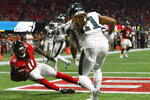 Atlanta Falcons wide receiver Julio Jones (11) makes a touchdown catch against Philadelphia Eagles cornerback Ronald Darby (21) during the second half of an NFL football game, Sunday, Sept. 15, 2019, in Atlanta. (AP Photo/John Amis)