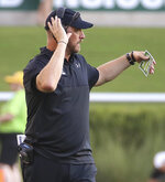 Stephen F. Austin head coach Colby Carthel calls a play to his team in an NCAA college football game against Baylor in the first half Saturday, Aug. 31, 2019, in Waco, Texas. (Jerry Larson/Waco Tribune-Herald via AP)