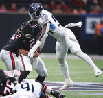 Atlanta Falcons quarterback Matt Ryan (2) is sacked by Tennessee Titans linebacker Rashaan Evans (54) during the fourth quarter of an NFL football game Sunday, Sept. 29, 2019, in Atlanta. (Curtis Compton/Atlanta Journal-Constitution via AP)