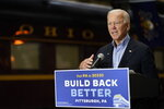 Democratic presidential candidate former Vice President Joe Biden speaks at Amtrak's Pittsburgh Train Station, Wednesday, Sept. 30, 2020, in Pittsburgh. Biden is on a train tour through Ohio and Pennsylvania today. (AP Photo/Andrew Harnik)
