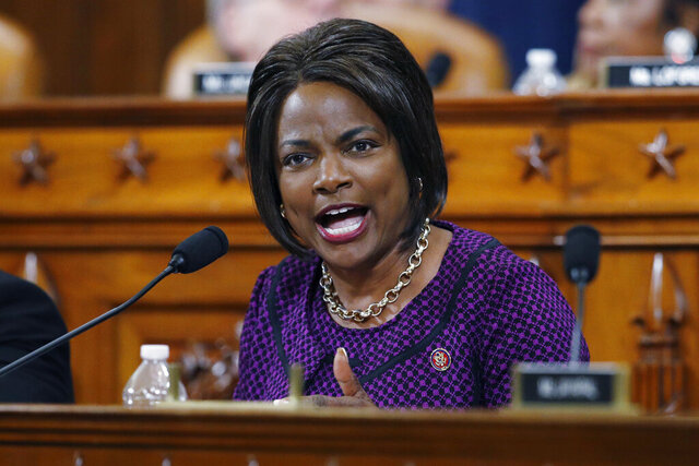 FILE - In this Dec. 11, 2019, file photo, Rep. Val Demings, D-Fla., gives her opening statement during a House Judiciary Committee markup of the articles of impeachment against President Donald Trump on Capitol Hill in Washington. Demings is among the women Joe Biden is considering for his vice presidential running mate. (AP Photo/Patrick Semansky, File)
