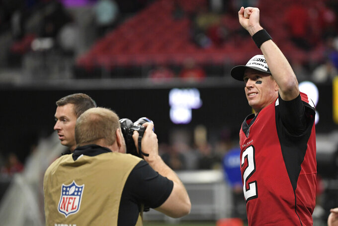 Atlanta Falcons quarterback Matt Ryan (2) leaves the field after an NFL football game against the Jacksonville Jaguars, Sunday, Dec. 22, 2019, in Atlanta. The Atlanta Falcons won 24-12. (AP Photo/Danny Karnik)