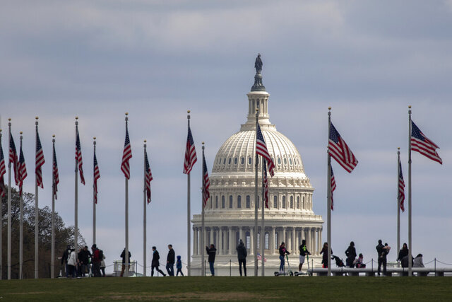 People walk among U.S. flags with the U.S. Capitol in the background, Sunday, March 15, 2020, in Washington. House Speaker Nancy Pelosi, D-Calif., said Congress has started work on a new coronavirus aid package after the one just approved by the House early Saturday. (AP Photo/Jacquelyn Martin)