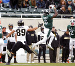 Michigan State's David Dowell (6) interceps a pass intended for Purdue's Brycen Hopkins (89) during the first quarter of an NCAA college football game, Saturday, Oct. 27, 2018, in East Lansing, Mich. (AP Photo/Al Goldis)