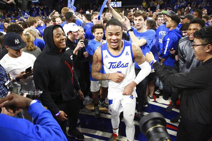 Tulsa guard Elijah Joiner (3) celebrates his game winning shot after Tulsa's 54-51 win over Wichita State in an NCAA college basketball game in Tulsa, Okla., Saturday, Feb. 1, 2020. (AP Photo/Joey Johnson)