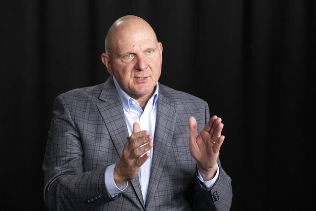 FILE - In this Thursday, Nov. 14, 2019 file photo, Steve Ballmer, founder of USA Facts, talks during an interview in New York. Los Angeles Clippers owner Steve Ballmer is buying the Forum for $400 million, clearing the way for the billionaire to build a new arena down the street in Inglewood, California. (AP Photo/Mark Lennihan, File)