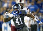 FILE - In this Sept. 29, 2018, file photo, Kentucky linebacker Josh Allen (41) rushes against South Carolina during the second half of an NCAA college football game, in Lexington, Ky. Allen is a possible pick in the 2019 NFL Draft. (AP Photo/Bryan Woolston, File)