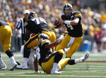 Iowa quarterback Nate Stanley runs the ball against Rutgers during the second half of an NCAA college football game, Saturday, Sept. 7, 2019, in Iowa City. Iowa won 30-0. (AP Photo/Matthew Putney)