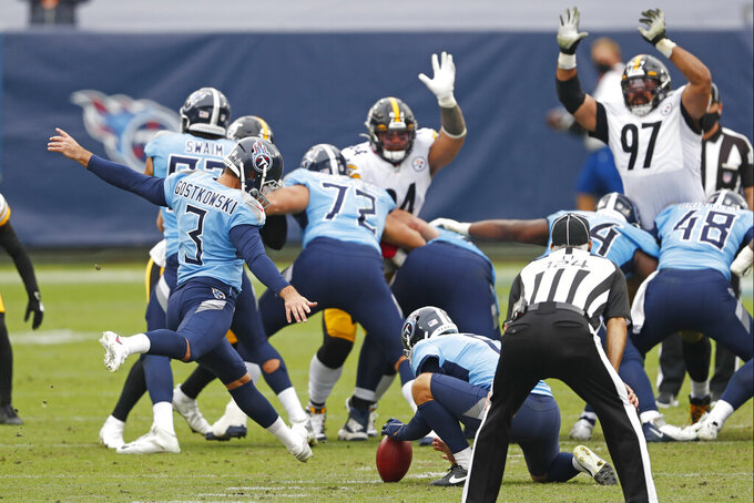 Tennessee Titans kicker Stephen Gostkowski (3) kicks a 51-yard field goal against the Pittsburgh Steelers in the second half of an NFL football game Sunday, Oct. 25, 2020, in Nashville, Tenn. (AP Photo/Wade Payne)