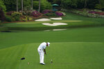 Hideki Matsuyama, of Japan, tees off on the 12th hole during the third round of the Masters golf tournament on Saturday, April 10, 2021, in Augusta, Ga. (AP Photo/David J. Phillip)