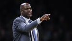Indiana Pacers head coach Nate McMillan calls to his players during the first quarter of an NBA basketball game against the Boston Celtics in Boston, Wednesday, Jan. 9, 2019. (AP Photo/Charles Krupa)