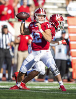 Indiana quarterback Peyton Ramsey (12) drops back to pass during the second half of an NCAA college football game against Eastern Illinois, Saturday, Sept. 7, 2019, in Bloomington, Ind. Indiana won 52-0. (AP Photo/Doug McSchooler)