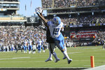 Oakland Raiders cornerback Daryl Worley, obscured, intercepts a pass intended for Detroit Lions wide receiver Kenny Golladay (19) during the first half of an NFL football game in Oakland, Calif., Sunday, Nov. 3, 2019. (AP Photo/John Hefti)