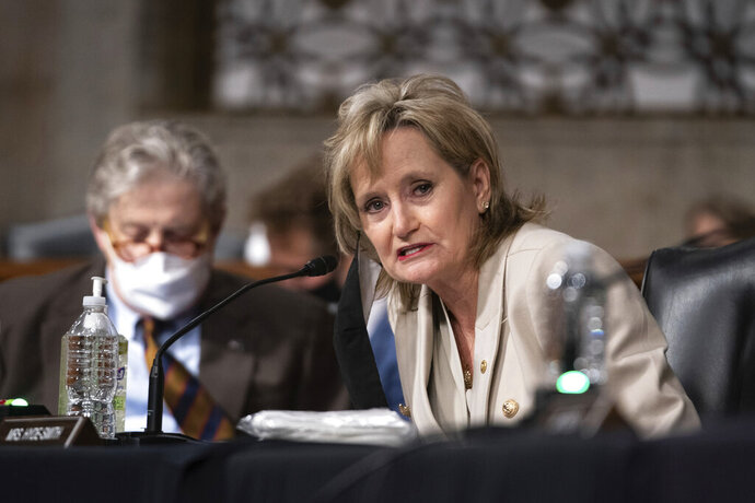 Sen. Cindy Hyde-Smith, R-Miss., speaks during a hearing with the Senate Appropriations Subcommittee on Labor, Health and Human Services, Education, and Related Agencies, on Capitol Hill in Washington, Wednesday, Sept. 16, 2020. (Anna Moneymaker/New York Times, Pool via AP)