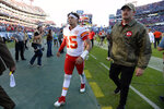 Kansas City Chiefs quarterback Patrick Mahomes leaves the field after an NFL football game against the Tennessee Titans Sunday, Nov. 10, 2019, in Nashville, Tenn. The Titans won 35-32. (AP Photo/Mark Zaleski)