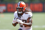 Cleveland Browns running back Kareem Hunt runs through a drill during NFL football practice Wednesday, Sept. 1, 2021, in Berea, Ohio. (AP Photo/Ron Schwane)
