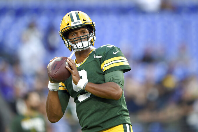 Green Bay Packers quarterback DeShone Kizer works out prior to a NFL football preseason game against the Baltimore Raven, Thursday, Aug. 15, 2019, in Baltimore. (AP Photo/Gail Burton)