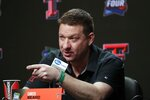 Texas Tech head coach Chris Beard speaks after a practice session for the semifinals of the Final Four NCAA college basketball tournament, Thursday, April 4, 2019, in Minneapolis. (AP Photo/Matt York)
