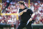 South Carolina head coach Will Muschamp yells  during the first half of an NCAA college football game against Coastal Carolina Saturday, Sept. 1, 2018, in Columbia, S.C. (AP Photo/Sean Rayford)