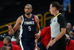 France's Nicolas Batum (5) reacts during men's basketball gold medal game against the United States at the 2020 Summer Olympics, Saturday, Aug. 7, 2021, in Saitama, Japan. (AP Photo/Charlie Neibergall)