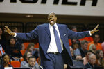 Georgetown coach Patrick Ewing shouts during the team's NCAA college basketball game against Oklahoma State on Wednesday, Dec. 4, 2019, in Stillwater, Okla. (Bryan Terry/The Oklahoman via AP)