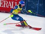 Mikaela Shiffrin of the United States competes during the first run of the alpine ski, women's World Cup slalom in Levi, Finland, Saturday, Nov. 21, 2020. (Jussi Nukari/Lehtikuva via AP)