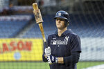New York Yankees first baseman DJ LeMahieu prepares to take batting practice before Game 4 of baseball's American League Championship Series against the Houston Astros Thursday, Oct. 17, 2019, in New York. (AP Photo/Matt Slocum)