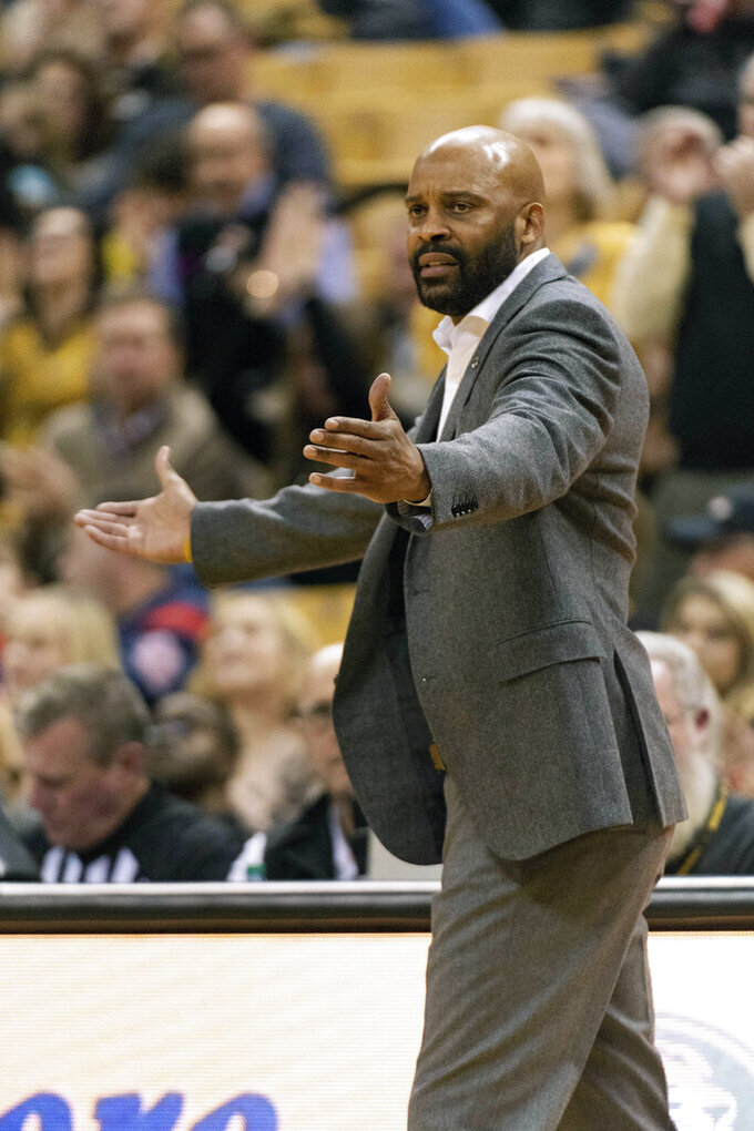 Missouri head coach Cuonzo Martin looks for a call during the second half of an NCAA college basketball game against Mississippi Tuesday, Feb. 18, 2020, in Columbia, Mo. Missouri won 71-68.(AP Photo/L.G. Patterson)