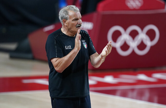 Italy's head coach Meo Sacchetti reacts during men's basketball preliminary round game between Italy and Nigeria at the 2020 Summer Olympics, Saturday, July 31, 2021, in Saitama, Japan. (AP Photo/Charlie Neibergall)