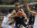 Gonzaga forward Drew Timme, pivots to shoot against Portland during the second half of an NCAA college basketball game in Portland, Ore., Thursday, Jan. 2, 2020. Gonzaga won 85-72. (AP Photo/Steve Dipaola)