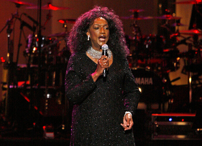 FILE - This Sept. 18, 2007 file photo shows soprano Jessye Norman performing during The Dream Concert at Radio City Music Hall in New York. The Metropolitan Opera will hold a tribute to Jessye Norman on Nov. 24 that celebrates the life and career of the late soprano. Norman died, Sept. 30, 2019, at Mount Sinai St. Luke's Hospital in New York. She was 74. (AP Photo/Jason DeCrow, File)