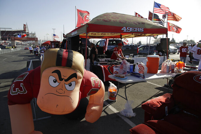 San Francisco 49ers fans tailgate before an NFL football game Carolina Panthers in Santa Clara, Calif., Sunday, Oct. 27, 2019. (AP Photo/Ben Margot)