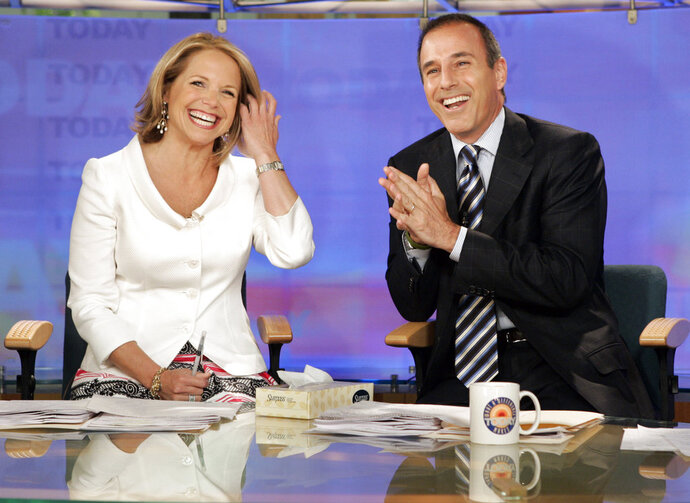 FILE - In this May 31, 2006 file photo, Katie Couric and Matt Lauer, co-hosts of the NBC Today