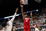 U.S. forward Nneka Ogwumike (16) shoots as Stanford forward Francesca Belibi, left, defends in the second quarter of an exhibition women's basketball game, Saturday, Nov. 2, 2019, in Stanford, Calif. (AP Photo/John Hefti)